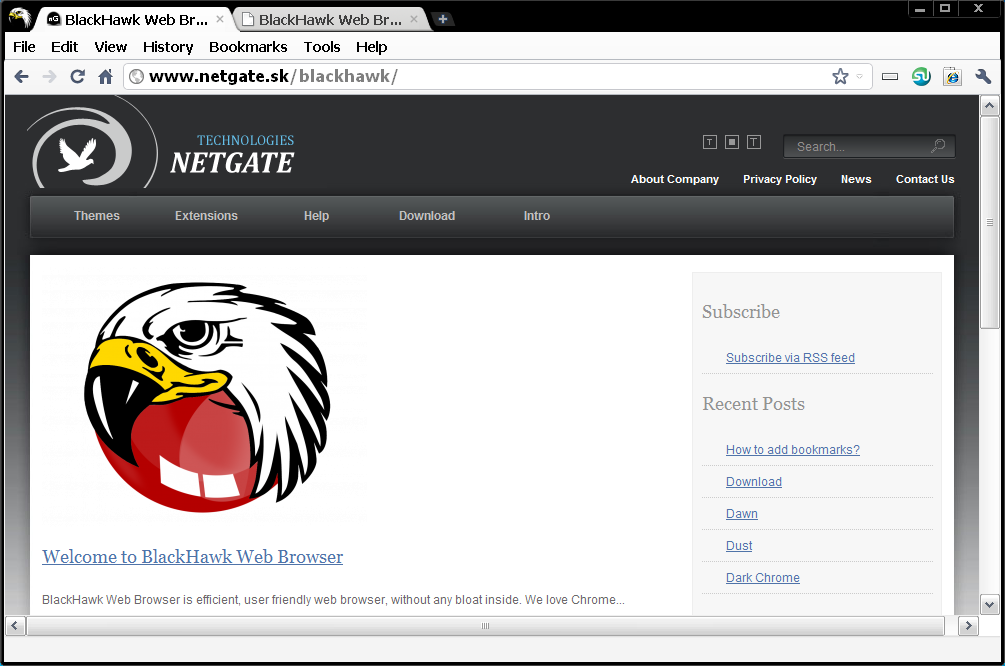 Click to view BlackHawk Web Browser 1.0.305 screenshot