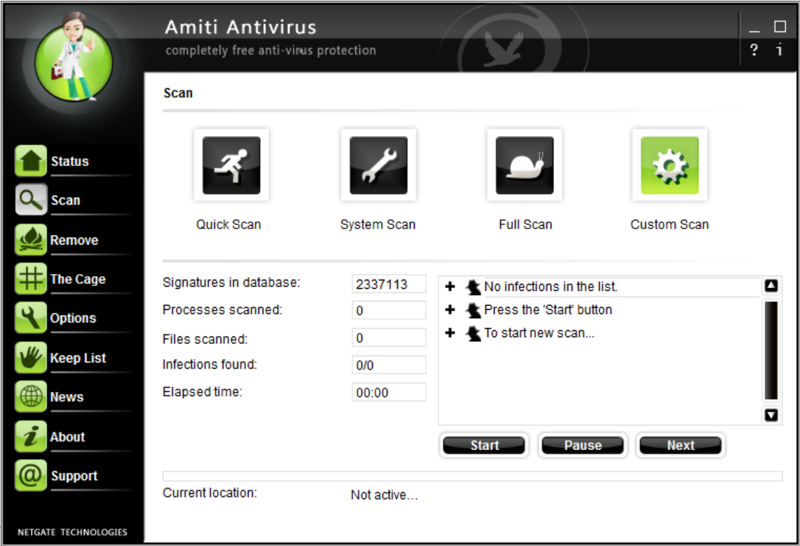 Click to view AMITI Free Antivirus 24.0.600 screenshot