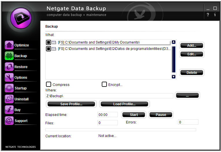 NETGATE Data Backup screenshot